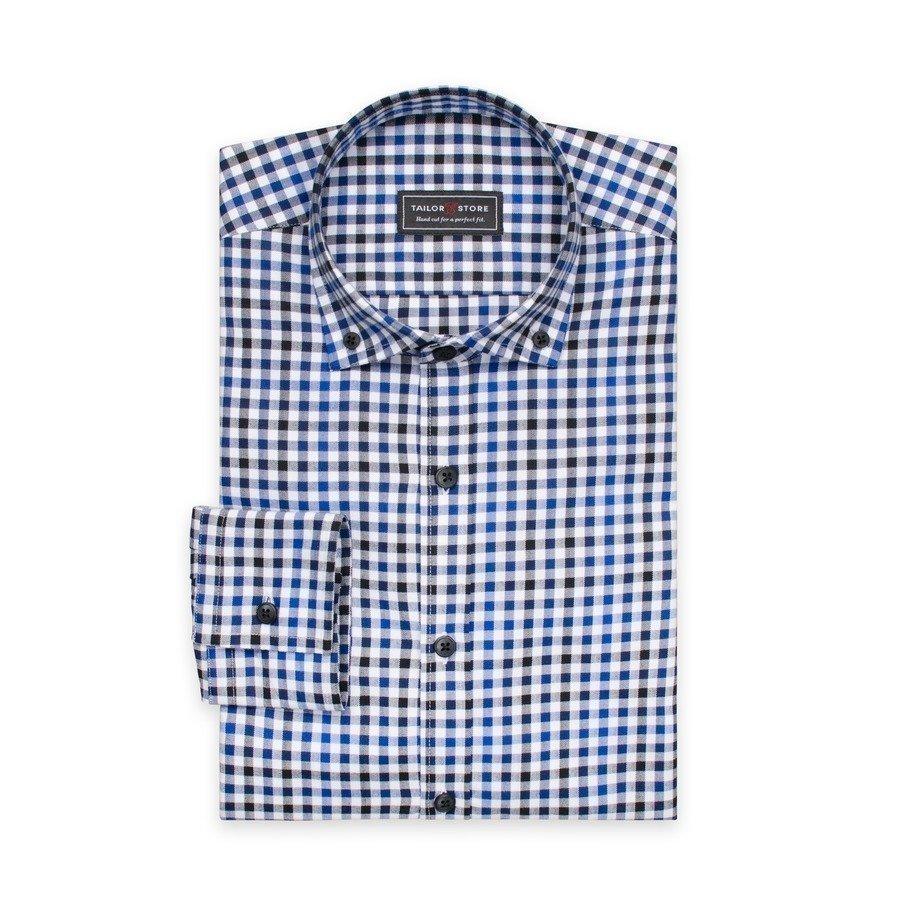 Tailor Store Paita Jossa Button Down Kaulus Valko / Sini / Mustaruudullinen