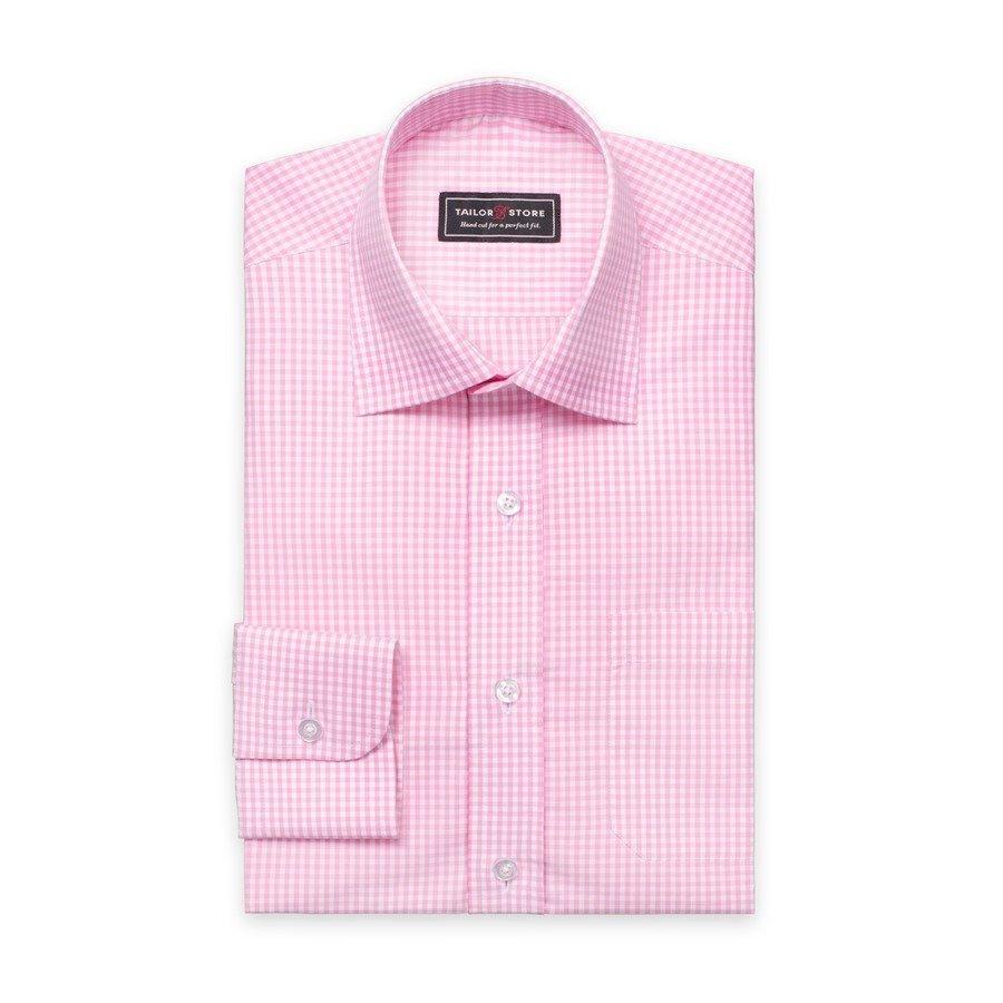 Tailor Store Popliinipaita Valko / Vaaleanpunaruudullinen