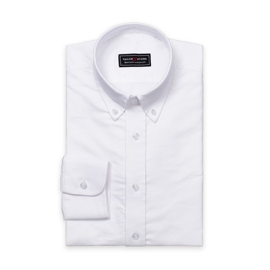 Tailor Store Slim Fit Oxford Paita Jossa Button Down Kaulus Valkoinen