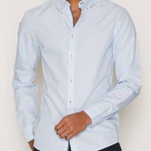 Tailored By Solid Shirt River Stripe Kauluspaita Vaaleansininen