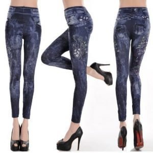 Tattoo art blue jeans print leggings