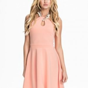Te Amo Necklace Keyhole Scuba Skater Dress Svart