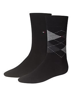 Tommy Hilfiger Check Sock 2-pack Black/Grey
