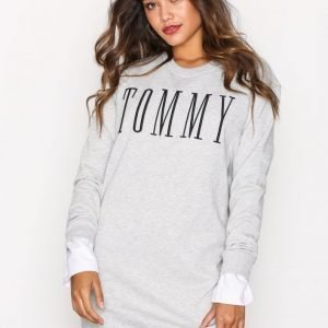 Tommy Jeans Thdw Knit Dress Loose Fit Mekko Light Grey