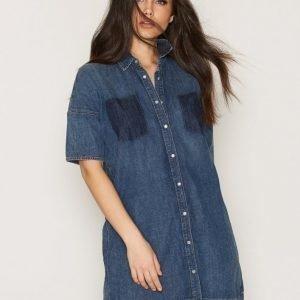 Tommy Jeans Thdw Ptcwrk Dnm Dress L / S Loose Fit Mekko Classic Blue