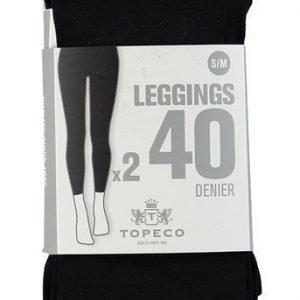 Topeco Leggingsit 40 DEN 2-Pakkaus Musta