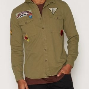 Topman Badge Twill Shirt Kauluspaita Khaki