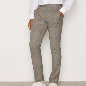 Topman Birdseye Suit Trousers Pukuhousut Stone