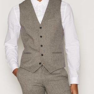 Topman Birdseye Suit Waistcoat Pukuliivi Stone