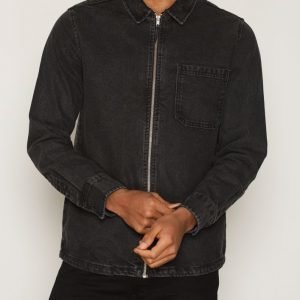Topman Black Denim Zip Through Overshirt Kauluspaita Black