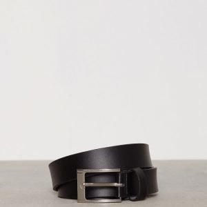 Topman Black Leather Smart Belt Vyö Black