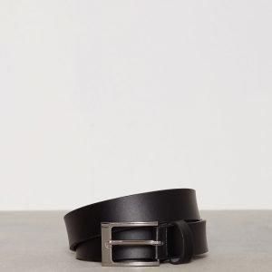 Topman Black Leather Smart Belt Vyö Black