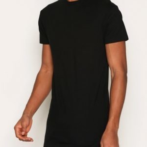 Topman Black Muscle Fit Longline T-Shirt T-paita Black