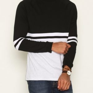 Topman Black Panel raglan T-shirt Pusero Black