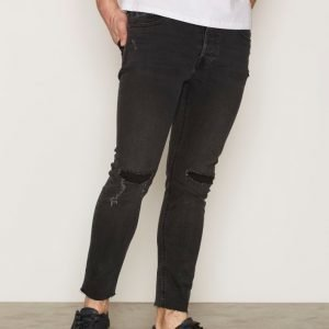 Topman Black Ripped Raw Hem Cropped Stretch Skinny Jeans Farkut Black