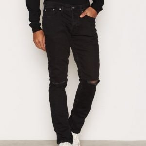 Topman Black Ripped Stretch Slim Jeans Farkut Black