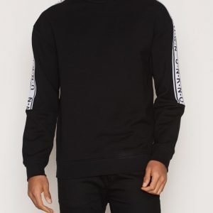 Topman Black Sleeve Taping Oversized Sweatshirt Pusero Black