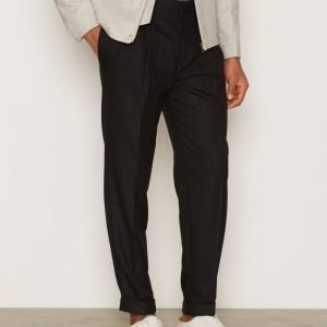 Topman Black Twin Pleat Tapered Smart Trousers Pukuhousut Black