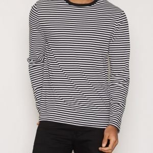 Topman Black and White Stripe Long Sleeve T-Shirt Pusero Musta/valkoinen