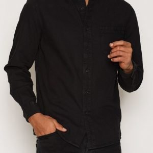 Topman Black washed twill casual shirt Kauluspaita Black