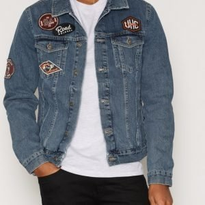 Topman Blue Badged Denim Jacket Takki Navy Blue