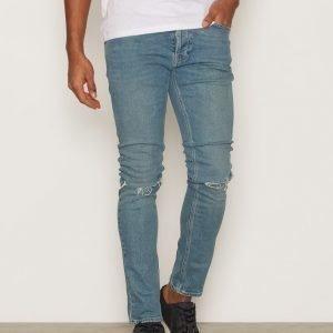 Topman Blue Wash Vintage Ripped Stretch Skinny Jeans Farkut Dark Blue