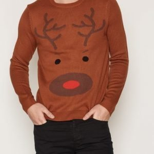 Topman Brown Reindeer Face Christmas Jumper Pusero Light Brown