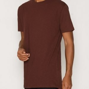 Topman Brown Step Hem Longline T-Shirt T-paita Brown