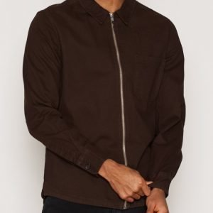 Topman Brown Zip Through Overshirt Kauluspaita Brown