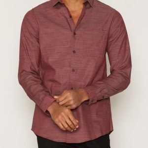 Topman Burgundy Slub Textured Long Sleeve Smart Shirt Kauluspaita Burgundy