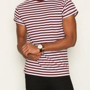 Topman Burgundy Stripe Muscle Fit Roller T-Shirt T-paita Burgundy