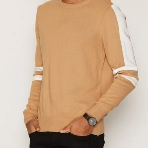 Topman Camel Stripe Jumper Pusero Light Brown