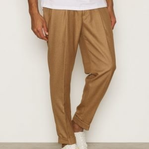 Topman Camel Twin Pleat Tapered Smart Trousers Housut Light Brown