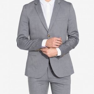 Topman Chambray Skinny Fit Blazer Bleiseri Light Blue