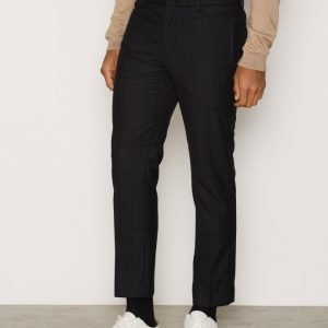 Topman Check Skinny Fit Cropped Trousers Pukuhousut Black