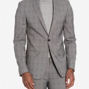Topman Check Ultra Skinny Fit Suit Jacket Bleiseri Grey