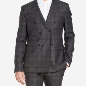Topman Check Wool Double Breasted Suit Jacket Bleiseri Charcoal
