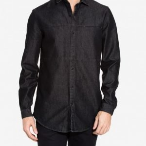 Topman Denim Long Sleeve Shirt Kauluspaita Black