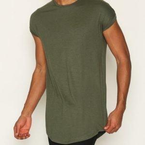 Topman Drop Shoulder Longline Tank Vest T-paita Khaki