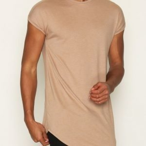 Topman Drop Shoulder Longline Tank Vest T-paita Light Brown