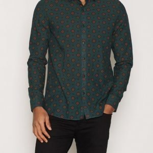 Topman Forest Green and Red Geo Print Casual Shirt Kauluspaita Green