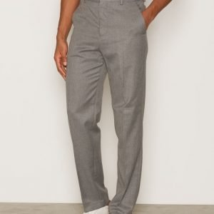 Topman Grey Flannel Wide Leg Smart Trousers Pukuhousut Grey