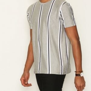 Topman Grey Vertical Stripe Slim Fit T-Shirt T-paita Light Grey