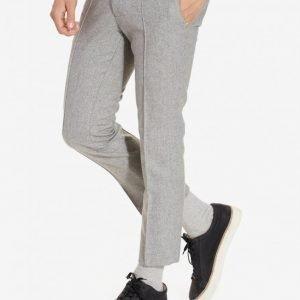Topman Grey Wool Rich Skinny Fit Cropped Suit Trousers Puvunhousut Grey