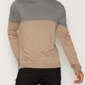 Topman Grey and Camel Colour Block Crew Neck Jumper Pusero Yellow