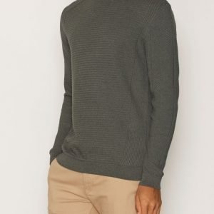 Topman Khaki Ribbed Slim Fit Cotton Jumper Pusero Khaki