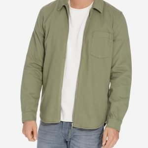 Topman Khaki Zip Through Overshirt Kauluspaita Khaki