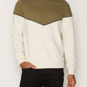 Topman Khaki and Off White Chevron Sweatshirt Pusero Khaki
