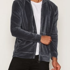 Topman LTD Grey Velour Track Top Pusero Black