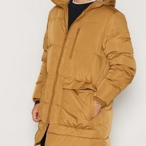 Topman LTD Mustard Premium Duck Down Longline Puffer Jacket Takki Yellow
